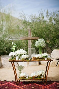 A Southern I Do Rustic cross and White flowers