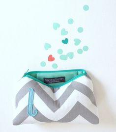 Aquamarine Mint & Grey Chevron Personalized Bridal Gift Bag / Sweet 16 Party Favor / Baby Shower Gift Bag