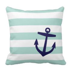 Mint & Navy Nautical Stripes and Cute Anchor Throw Pillow