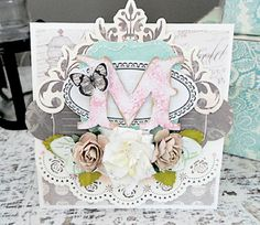 Beautiful Mono Type Shabby Chic handmade greetings card with butterfly. By Nerrida Mitchell of For The Memories
