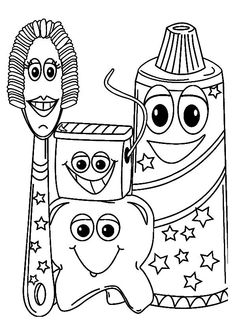 teeth coloring pages brush your