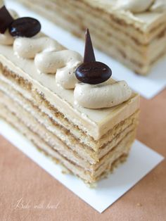 Cook with love bake with heart: Gâteau Moka - coffee cake in a very hot day