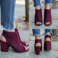 Parking-S Perforated Peep Toe Heels - UOIOnline.com