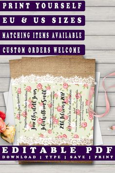 Printable Wedding Invitation Burlap & Lace With Floral Chintz #editableinvites #diywedding #rusticwedding #prandski