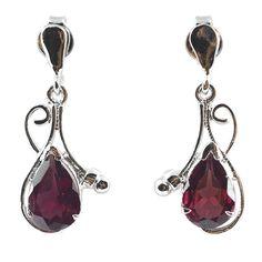 Rhodolite Garnet Drop Earrings, Garnet Earrings, Faceted Garnet Earrings, 925 Sterling Silver Garnet Earrings, 7x10mm Pear Cut Earrings by Lashkarisilver on Etsy