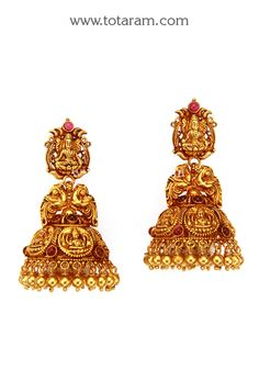 Temple Jewellery - 22K Gold 'Lakshmi' Jhumkas - 22K Gold Dangle Earrings - GJH1403 - Indian Jewelry Designs from Totaram Jewelers