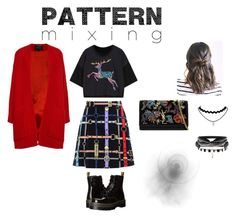 """""""patterns mixing"""" by rnosh4nia ❤ liked on Polyvore featuring Love Moschino, Dr. Martens, Derek Lam, Yves Saint Laurent and patternmixing"""