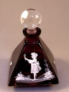 Vintage Amethyst Glass Mary Gregory Style Enamelled Perfume Bottle