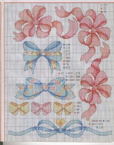 bows x stitch Cross Stitch Kitchen, Cross Stitch For Kids, Cross Stitch Boards, Cross Stitch Needles, Cute Cross Stitch, Cross Stitch Flowers, Counted Cross Stitch Patterns, Cross Stitch Designs, Cross Stitch Embroidery