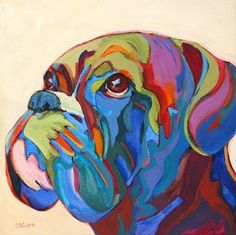 Daily Painting, Eyes to the Sky, contemporary expressionism dog painting, painting by artist Carolee Clark