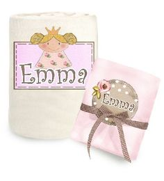 A magical and useful pink set for the new princess.    This lovely baby birth gift contains:    * A soft baby blanket.  Blanket can be used in the summer and winter season as well.    Choose your color : cream or pink    * Muslin baby diaper - 100% cotton    Each item is designed and printed with the baby's name in English or any other language.  Price: $59