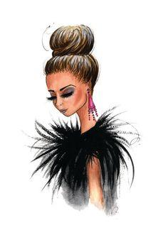 Grabado de la ilustración de moda fabulosas plumas por anumt, $25,00