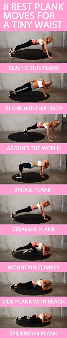We all know the plank is one the best exercises we can do - these are the best variations to give you slim waist and strong core. Think you can keep up for the whole workout? #muffintop #abworkout #bellyfat #flatbelly #coreworkout