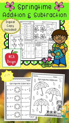This product features various worksheets to help your students practice addition and subtraction math facts. This packet is designed to be used as mini-lessons, supplements to larger lesson plans, extra practice, or as a math center. Each worksheet focuses on basic addition and subtraction facts and are accented with cute springtime graphics. This product includes both a print and DIGITAL copy. The digital copy is great for DISTANCE LEARNING! #teacherspayteachers #tpt #spring Science Resources, Math Activities, Teacher Resources, School Resources, Teaching Ideas, Addition And Subtraction Practice, Math Lessons, Math Skills, Math Workshop