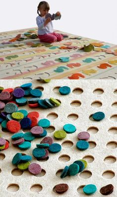 Felt puzzle rugs. I love the polka dot and car versions. How fun! but, I bet it's no fun to vacuum...