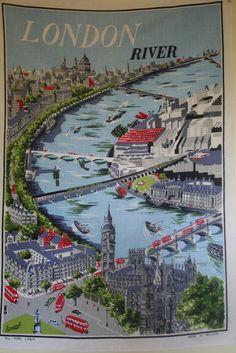 Vintage Tea Towel - London River