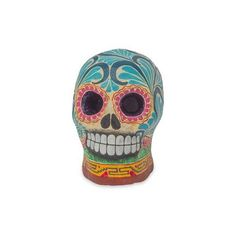 NOVICA Hand Painted Ceramic Skull Figurine Day of the Dead (34 NZD) ❤ liked on Polyvore featuring home, home decor, blue, clothing & accessories, sculpture, skull sculpture, ceramic home decor, handmade home decor, skull home decor and ceramic figurines