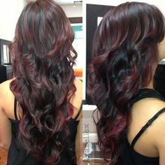 Hair color dark brown violet 41 ideas for 2019 Hair Color And Cut, Hair Color Dark, Ombre Hair Color, Cool Hair Color, Hair Colors, Hair Cut, Red Purple Hair, Bright Red Hair, Burgundy Hair
