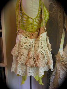 Shabby n Chic Bag crocheted doily ruffled by TatteredDelicates, $100.00