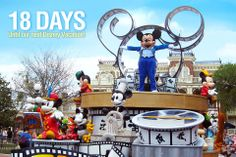 """18 Days until our next Disney Vacation!  We are counting the days to our next Disney trip with our favorite pics taken at the parks. This photo was taken of a Mickey parade on Main Street at the Magic Kingdom in Walt Disney World. Let us know if you """"Like"""". #disneyside"""