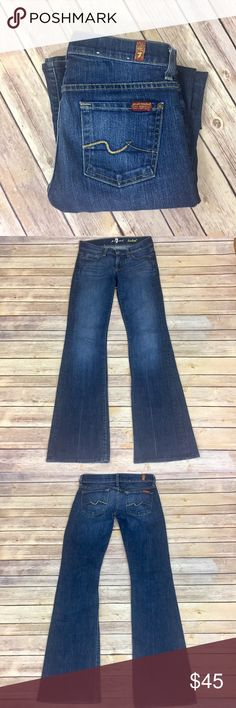 """✨7 for All Mankind Bootcut✨ Size 25. 87% cotton 12% polyester 1% spandex. 32"""" inseam, 14.5 waist laying flat.   💕Need any other information? Measurements? Materials? Feel free to ask! 💕Unfortunately, I am unable to model items!  💕Don't be shy, I always welcome reasonable offers! 💕Fast shipping! Same or next day! 💕Sorry, no trades!  Happy Poshing!☺️ 7 for all Mankind Jeans Boot Cut"""