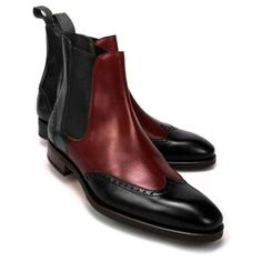 Handmade Chelsea Two Tone Leather Ankle Boot Burgundy Black Men Formal Boot - Boots Mens Fashion Shoes, Fashion Boots, Dress With Boots, Dress Shoes, Men Dress, Office Boots, Leather Ankle Boots, Calf Leather, Soft Leather