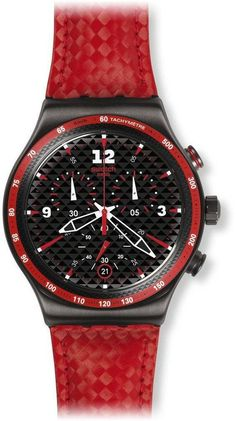 Swatch Men's Irony Black Dial Red Leather Strap Chronograph Swiss Watch YVM401 #Swatch #Casual