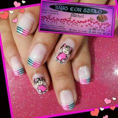 Mis uñas Cute Nail Art, Easy Nail Art, Cute Nails, Pretty Nails, My Nails, Baby Design, Pink Girl, Pedicure, Nail Designs