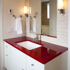 fun color counter top (recycled glass?) for boys bathroom