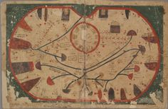 Map of Sicily, from 'Kitāb Gharāʾib al-funūn wa-mulaḥ al-ʿuyūn' (The Book of Curiosities of the Sciences and Marvels for the Eyes), a 12th/13th century cosmographical manuscript composed in Egypt
