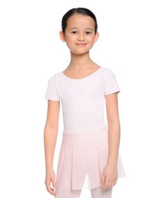 Pink Skirted Scoop Neck Leotard - Girls