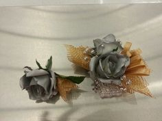 Custom Gold & Silver prom crosage & boutonniere #5059