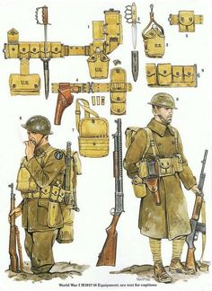 Army combat equipment the First World War Military Gear, Military Weapons, Military History, Military Uniforms, Military Equipment, World War One, First World, Army Gears, Military Drawings
