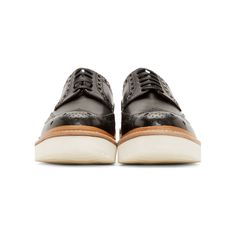 Grenson Black Leather Archie Wingtip Brogues