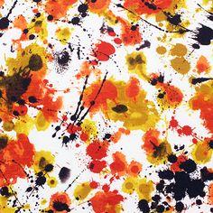 Mustard Brown Paint Splatter Cotton Jersey Blend Knit Fabric :: $6.00