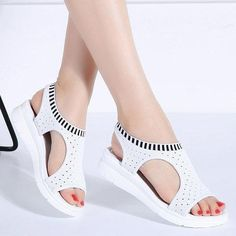 Buy Size Summer Ladies Thick Bottom Fish Mouth Mesh Casual Wedge Sandals Women Elastic Band Sports Platform Sandals Sandales Sandalen Sandalias Sandálias at Wish - Shopping Made Fun Peep Toe Shoes, Wedge Shoes, Women's Shoes, Buy Shoes, Flat Platform Sandals, Flat Sandals, Leather Sandals, Womens Summer Shoes, Girls Sandals