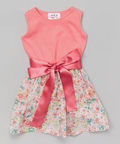 Look at this Pink Floral Belted Skater Dress - Infant, Toddler & Girls on #zulily today!
