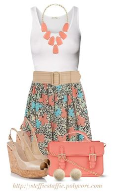 """""""Coral & Turquoise Butterfly Skirt"""" by steffiestaffie ❤ liked on Polyvore featuring American Vintage, Calvin Klein, 10 Bells, Jimmy Choo and Kendra Scott"""