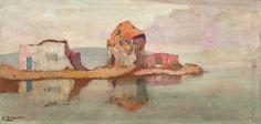.:. Οικονόμου Μιχαήλ – Michail Oikonomou [1888-1933] Old mill and houses Vintage Maps, Antique Maps, Name Paintings, Paris Map, Greek Art, Old Maps, City Maps, Okinawa Japan, Tour Eiffel