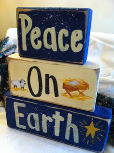 Peace On Earth Sign Chunky Wood Blocks Nativity Christmas