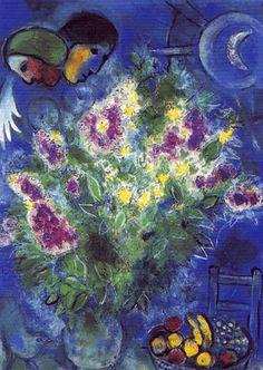 Bloemen en geluk. Meer kaarten van Chagall bij www.postersquare.com