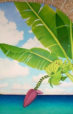 Hawaiian Art, Florida Style, Canvas Art, Canvas Ideas, Tropical Art, Hawaiian Islands, Plant Leaves, Scenery, Bananas