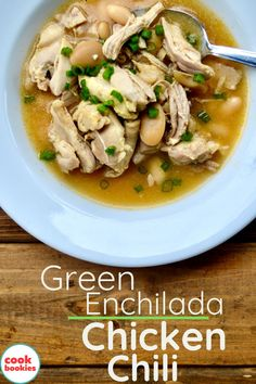 Green enchilada sauce is one of the key ingredients in this spicy and easy white chicken chili dish! #cookbookies #enchilada #soup #chili #whitechickenchili #chickenchili #chicken Southern Cooking Recipes, Green Enchilada Sauce, White Chicken Chili, Cinnamon Bread, Chicken Soup, Enchiladas, Gluten Free Recipes, Spicy, Appetizers