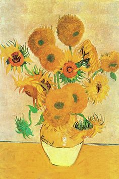 'Vase with Sunflowers' by Van Gogh Painting Print on Wrapped Canvas