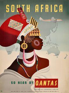 South Africa Qantas - Vintage Travel Poster, classic posters, free download, free posters, free printable, graphic design, printables, retro prints, travel, travel posters, vintage, vintage posters, vintage printables