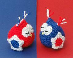 Stars and Stripes amigurumi owls. Handmade crochet by ittooktwo, €7.50