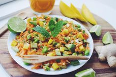 Asian inspired spring salad with spicy mango dressing