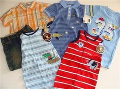 """You are bidding on FIVE (5) Outfits for your little boy    ALL BRAND NEW!!!     1)Jumping Beans """"cars"""" outfit size 12mo  2)Okie Dokie jumpsuit blue stripes """"pilot"""" size 12mo  3)Child of Mine by Carters romper light blue size 12mo  4)Child of Mine by Carters romper red size 12mo  5)Baby Works  giraffe shirt size 18mo  6)Greendog vintage denim shorts size 18mo"""