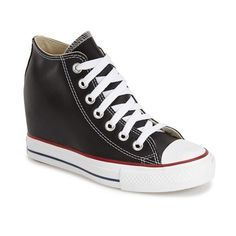 Converse Chuck Taylor All Star 'Lux' Hidden Wedge High Top Sneaker ($75) ❤ liked on Polyvore featuring shoes, sneakers, black, converse sneakers, black shoes, black hidden wedge sneakers, platform sneakers and black sneakers