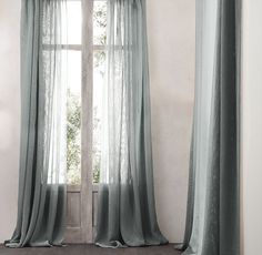 RH Open Weave Sheer Linen Drapery in Fog